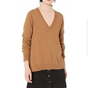 J Crew merino wool v neck tan sweater L